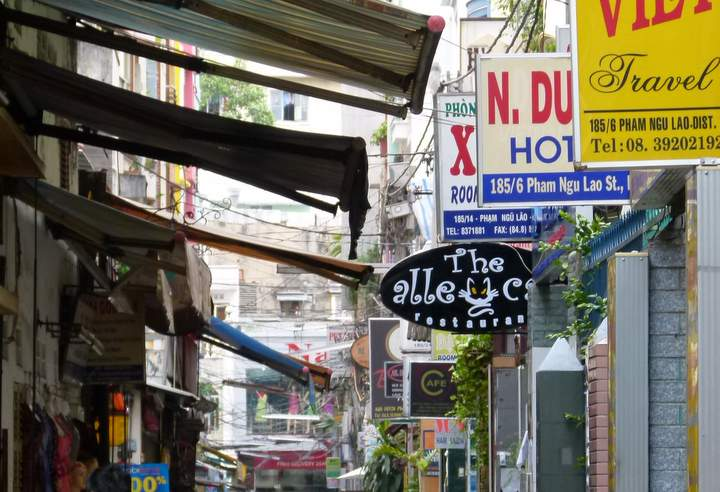 cheap hotels - lanes behind Pham Ngu Lao and Bui Vien