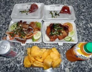 best street food Vietnam - BBQ and fruit