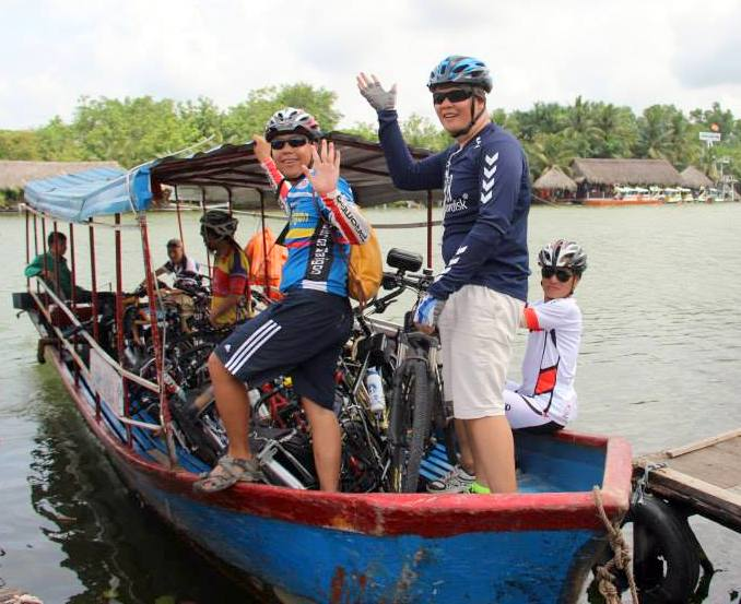 Vietnam Bicycle Tours - Catching a ferry