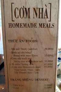 Com Nha - Homemade Meals menu